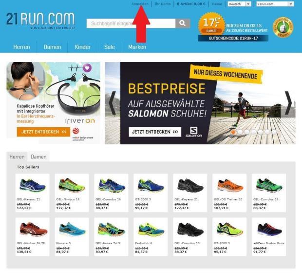 im Online Shop anmelden