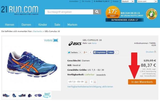 Schuhe in den Warenkorb legen