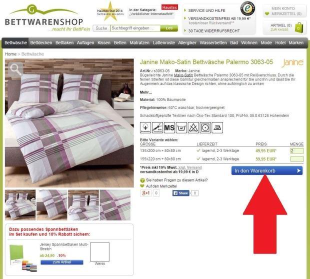 Bettwäsche in den Warenkorb legen