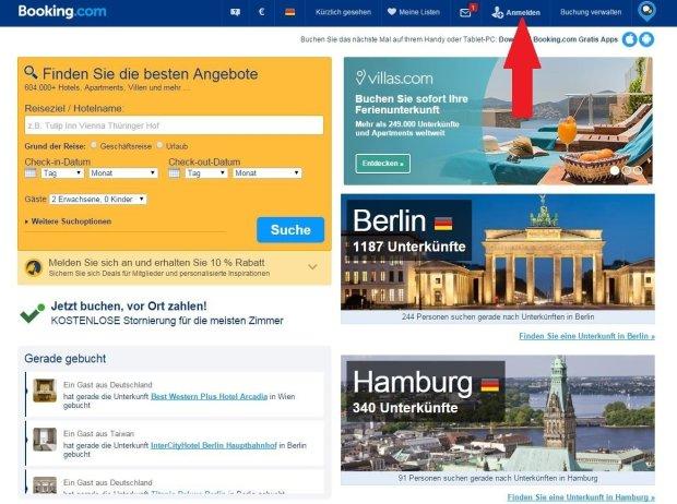 Auf booking.com anmelden