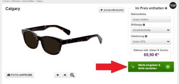 Werte eingeben & Brille bestellen