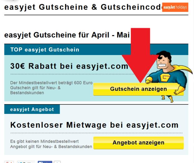 easyjet Gutschein anzeigen