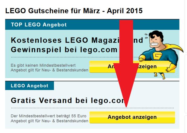 Gutschein Lego