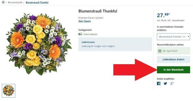 Blumenstrauß in den Warenkorb legen