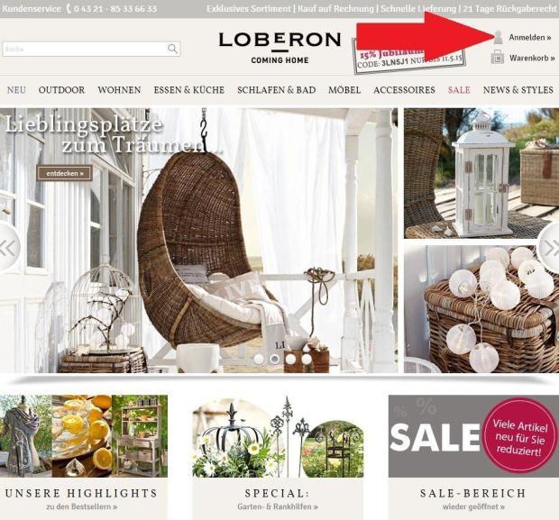 Bei Loberon anmelden