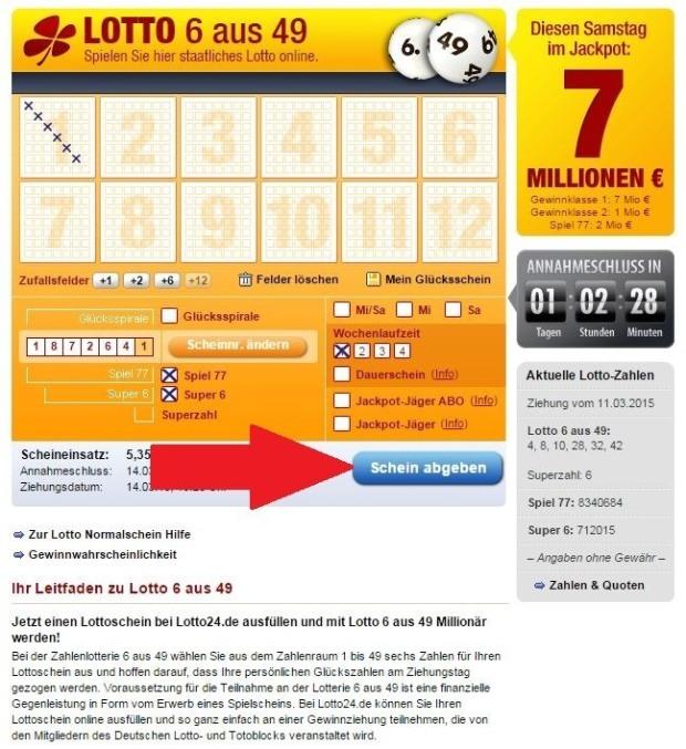 Lottoschein abgeben