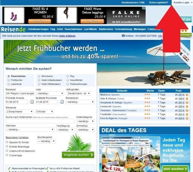 Auf reisen.de anmelden oder registrieren