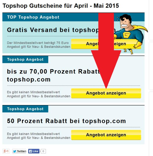 Topshop Gutschein