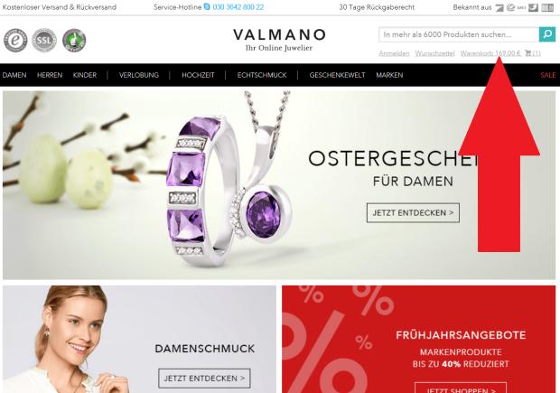 Valmano zum Warenkorb