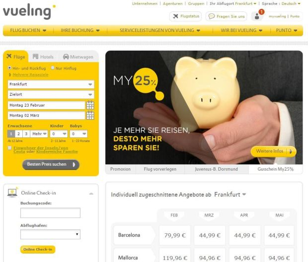 Vueling.com Startseite